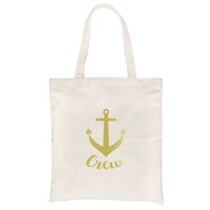 Bride Crew Anchor-GOLD Canvas Shoulder Bag Simple Sweet Bridal Gift