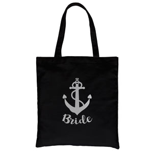 Bride Crew Anchor-SILVER Canvas Shoulder Bag Grateful Adorable Gift