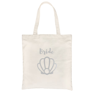 Bride Mermaid Seashell-SILVER Canvas Shoulder Bag Anniversary Gift