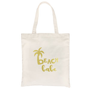 Beach Bride Babe Palm Tree-GOLD Canvas Shoulder Bag Chic Trendy