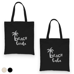 Beach Bride Babe Palm Tree-SILVER Canvas Shoulder Bag Relaxing Fun