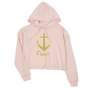 Bride Crew Anchor-GOLD Womens Crop Hoodie Exciting Playful Fun Gift