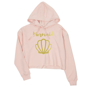 Bride Mermaid Seashell-GOLD Womens Crop Hoodie Exhilirating Perfect