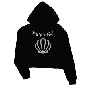 Bride Mermaid Seashell-SILVER Womens Crop Hoodie Modern Grateful