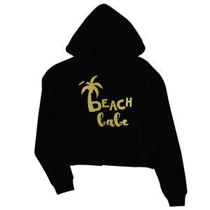 Beach Bride Babe Palm Tree-GOLD Womens Crop Hoodie Brilliant Fun