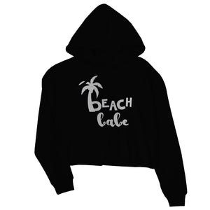 Beach Bride Babe Palm Tree-SILVER Womens Crop Hoodie Wonderful Chic