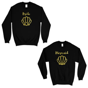 Bride Mermaid Seashell-GOLD Unisex Crewneck Sweatshirt Chic Silly