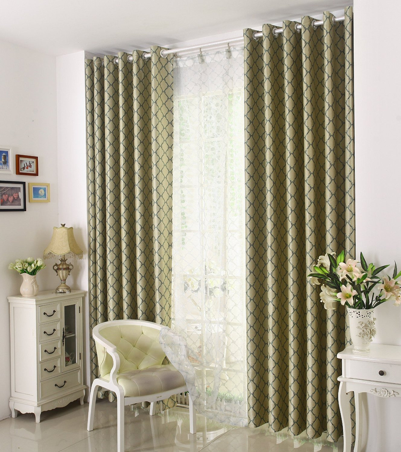 "Airdodo Classic Euro Style Forest Green Geometric 60"" x 95"" Grommet Top Curtain (One Panel)"