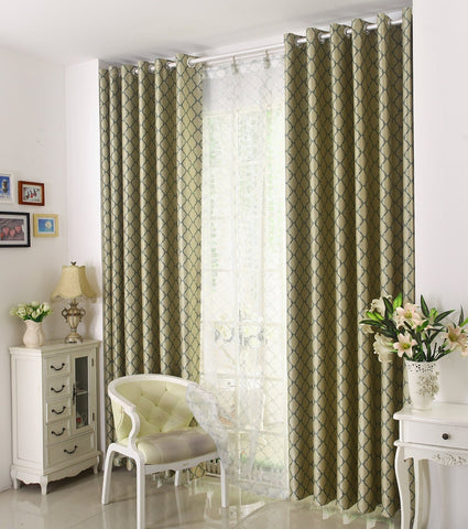 Airdodo Classic Euro Country Decorative Style Forest Green Geometric 60-inch By 95-inch Grommet Top Curtain (One Panel)