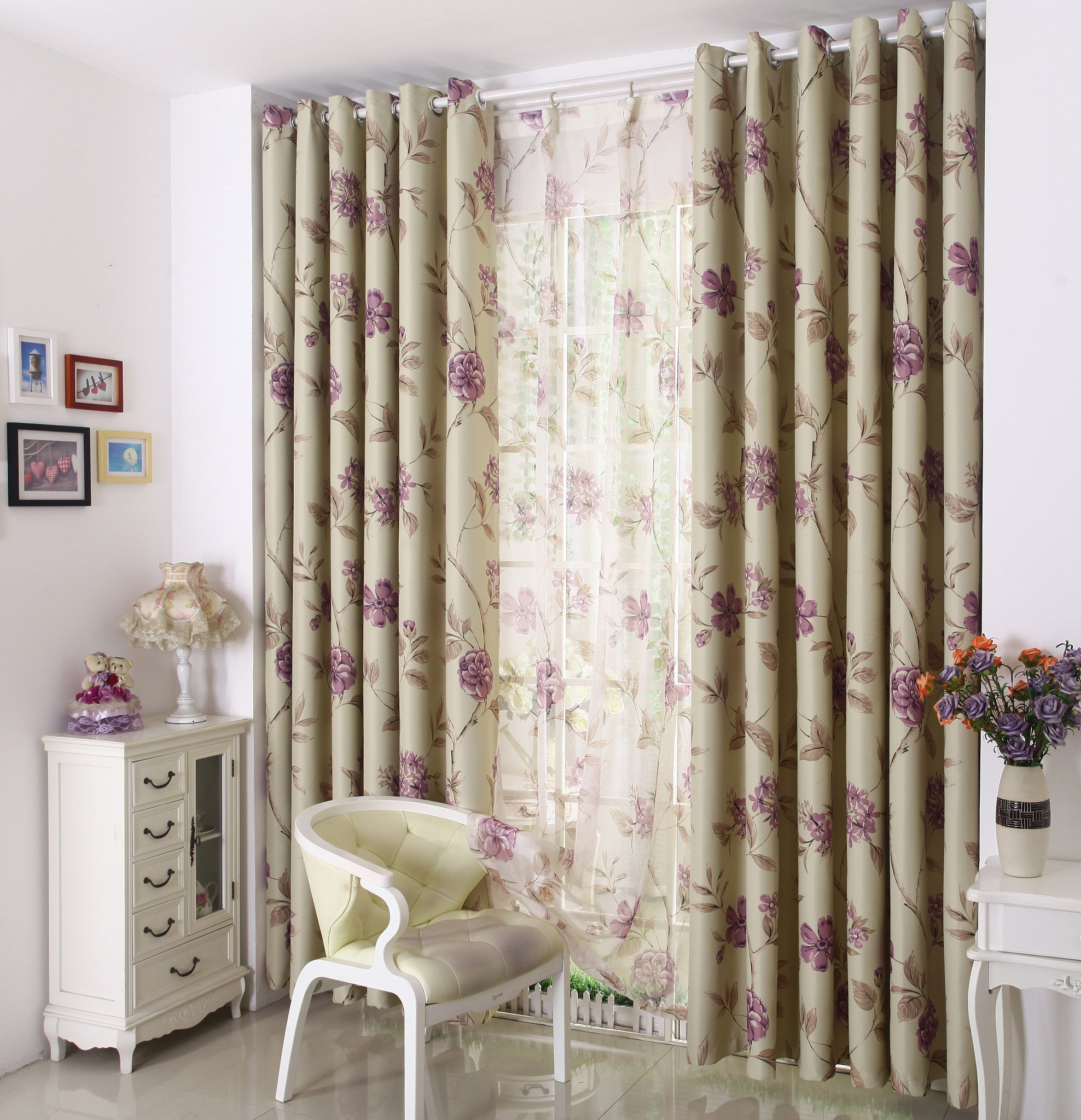 "Airdodo New! Purple floral solid Hook top Blackout Curtain 60""W x 95""L (One Panel)"