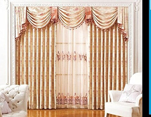 "AIRDODO Luxury Euro Decorative Style Pearl White 70"" x 84 Grommet Top Curtain (One Panel)"
