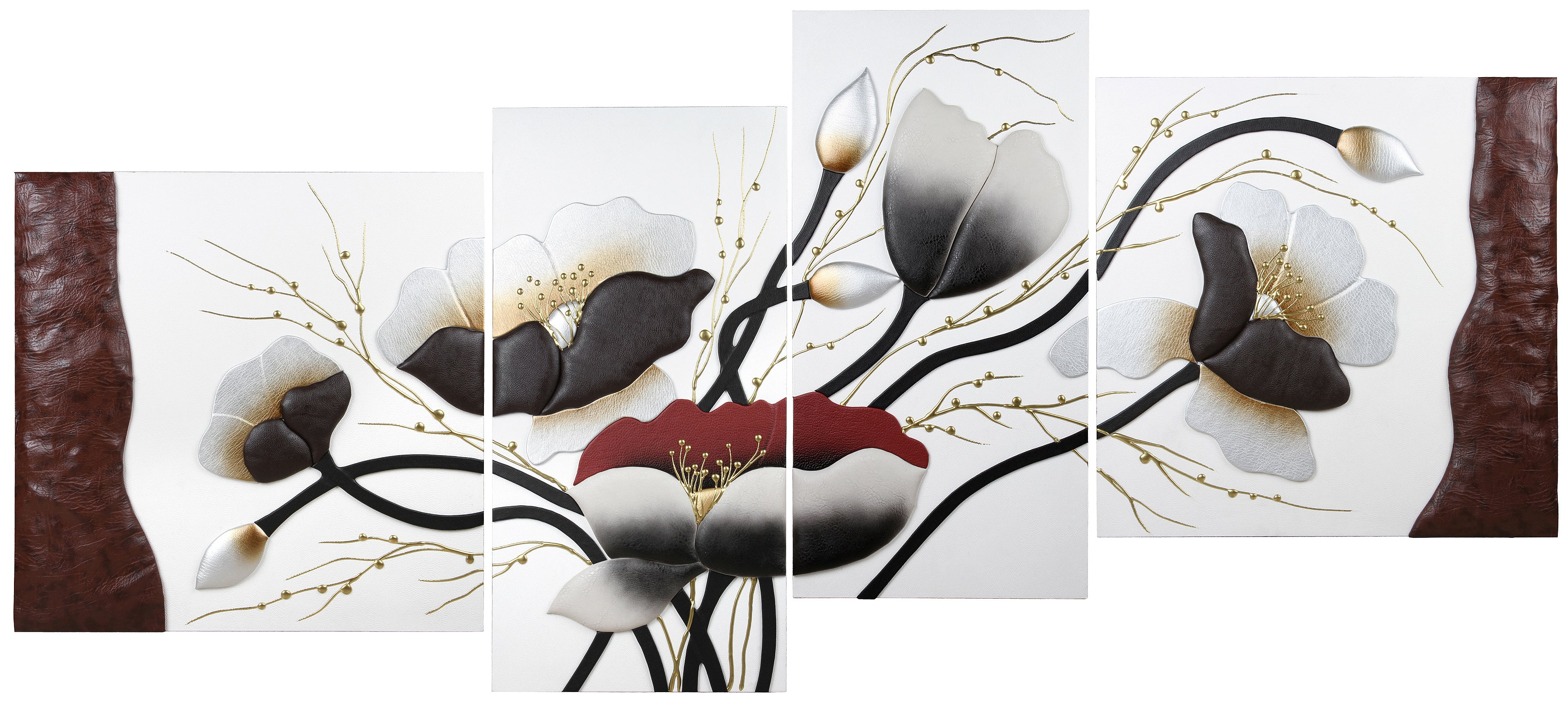 AIRDODO Beautiful 3D Leather Replica flower in Base 4pc Set 60x180cm (CC51SET)