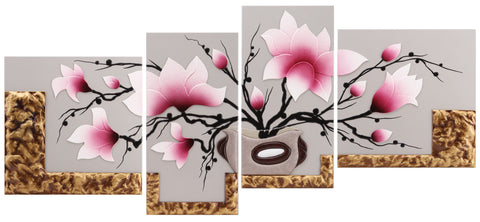 AIRDODO Beautiful 3D Leather Replica Orchid in Base 4pc Set 60x180cm (CC53SET)