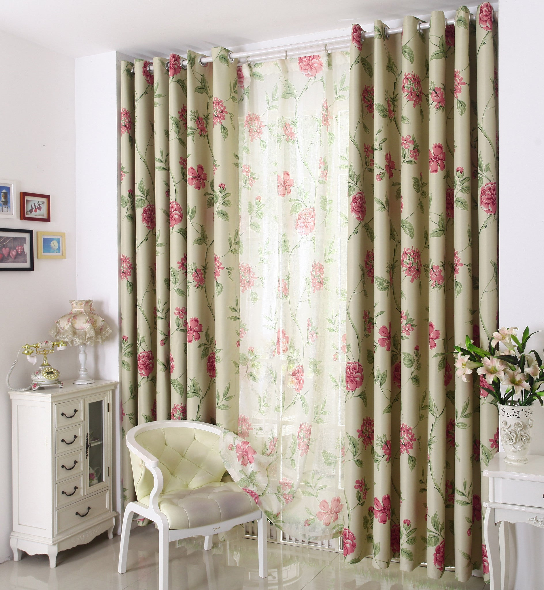 "Airdodo Modern Pink floral solid grommet top Curtain 60"" x 95"" (one panel)"