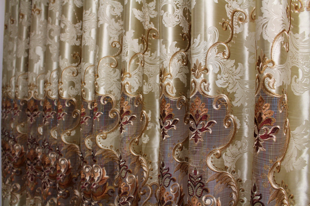 "Airdodo Metalic Gold Embroidered blackout Grommet top solid 58""W x 95""L Curtain (One Panel)"