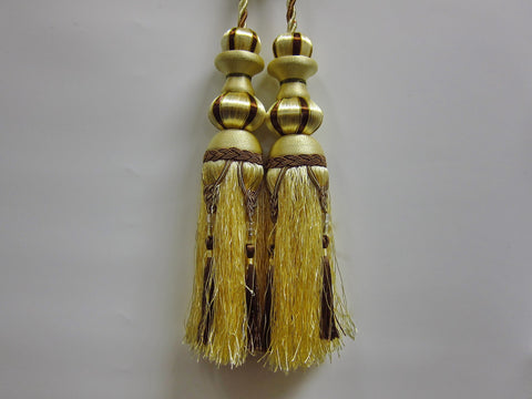 "Airdodo  European Style Dual-head Gold and Black Curtain Tassel Tie-backs 11"" (28cm)"