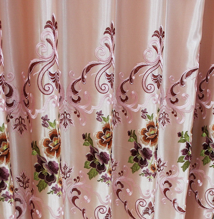"Airdodo Decorative European Embroidered Style Light Pink Grommet Top 60""w X 95""l Curtain Panel (One Panel)"