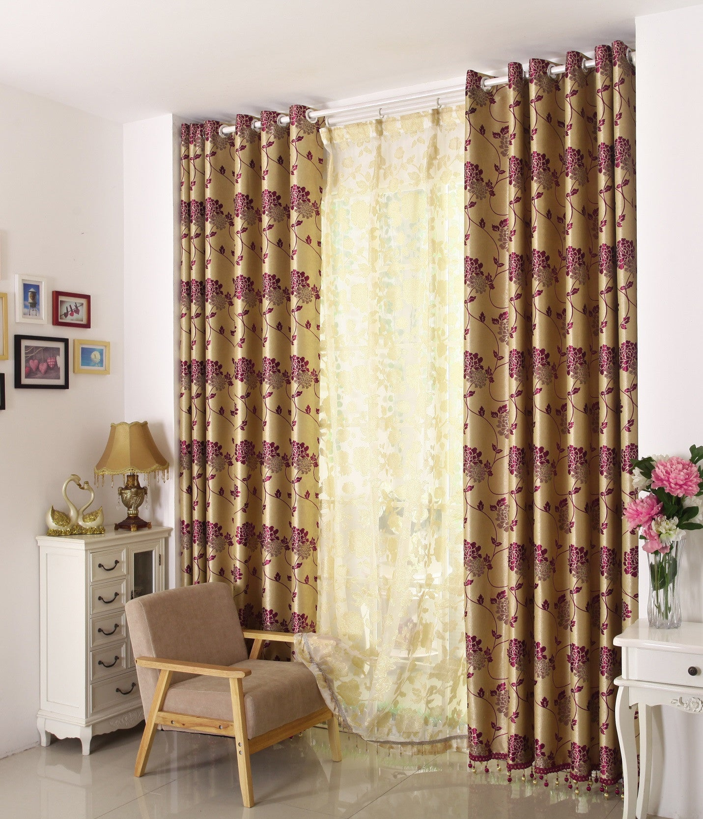 "Airdodo Gold solid grommet top 60""W x 95""L Curtain (One Panel)."