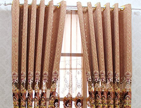 "Airdodo Decorative Embroidered European Grommet Top 56""w X 95"" Curtain (One Panel)"