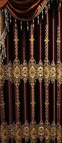 "Airdodo Luxury European Style Burgundy 58""W x 95""L Grommet top Curtain (One Panel) (No Valance)"