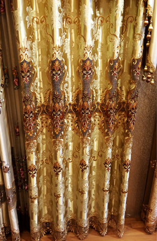 Airdodo  European Decorative Style Metallic Gold Embroidered Grommet top 56-inch By 84-inch Curtain (One Panel)