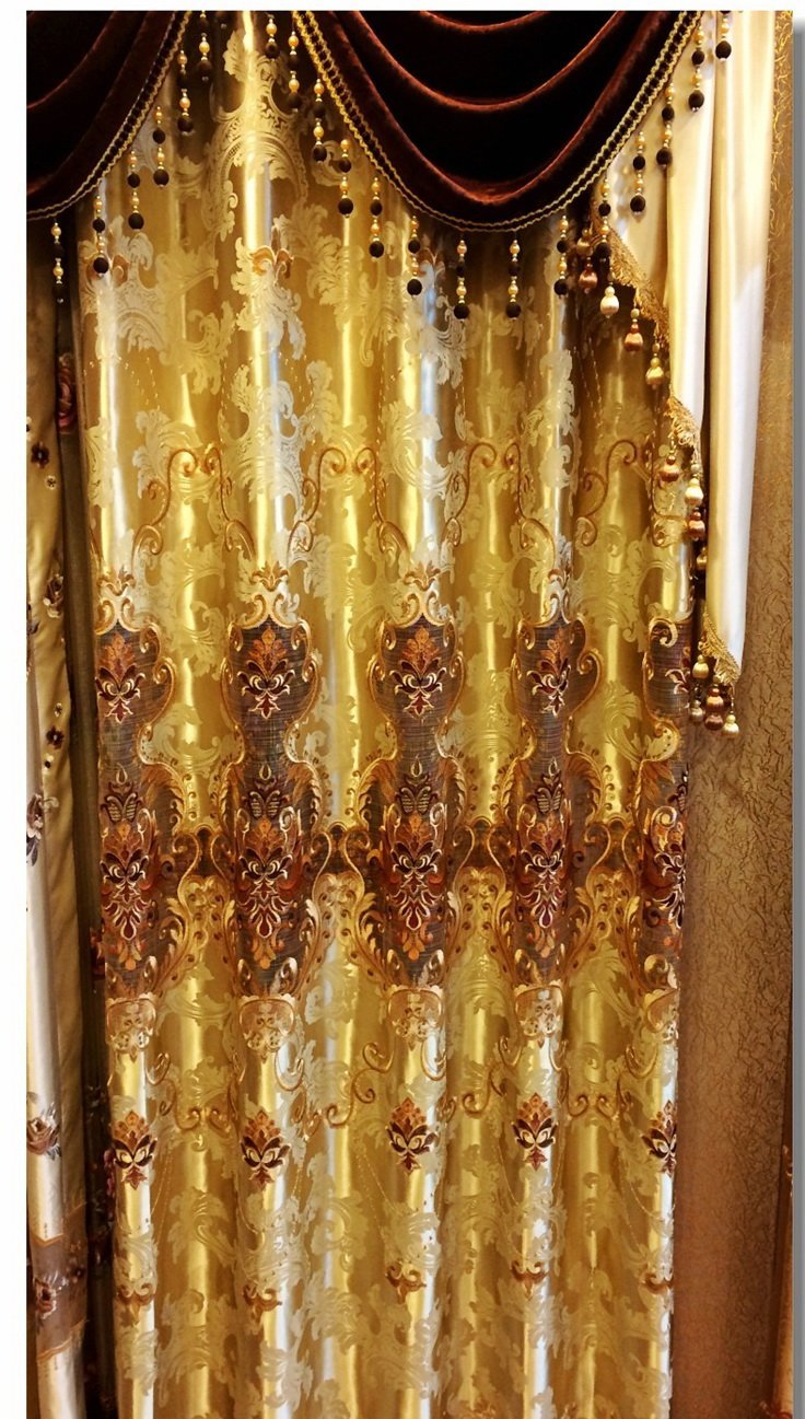 "AIRDODO European Decorative Style Metallic Gold Embroidered Grommet top 56""x 95"" Curtain (One Panel)"