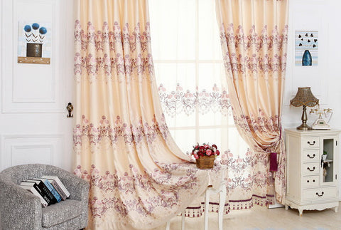 "Airdodo Beige Cream Embroidered 70""W x 95""L Blackout Grommet top solid Curtain (One Panel). Pictures display arrangement is to show off the Curtain, Valance or sheer are not available."