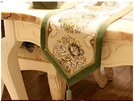 "Airdodo Luxury European 12""x 72"" Green Table Runner"