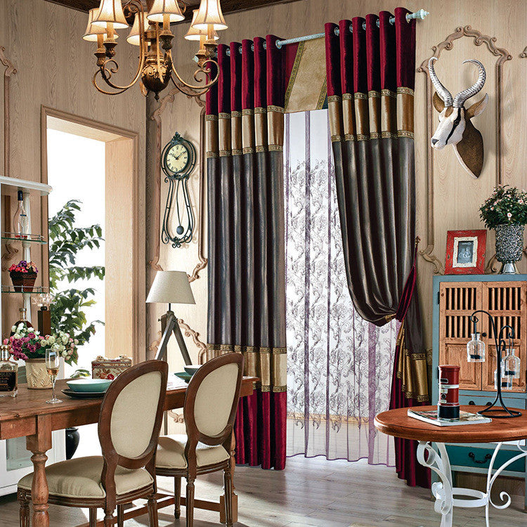"Airdodo European Decorative Merlot/gray Style Grommet Top 70""w X 95"" L Curtain (One Panel)"