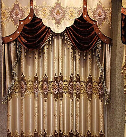 Airdodo  European Decorative Style Light Metallic Grey 58-inch By 84-inch Grommet Embroidery Curtain (One Panel) (No Valance)