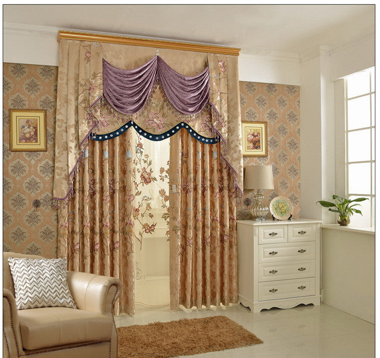 "Light Beige Floral 70""W x 95""L Blackout Embroidered Grommet top Curtain (One Panel).Pictures display arrangement is to show off the inset Curtain, Valance and sheer are not available."
