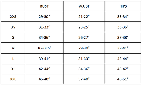 Together Loungewear Size Chart