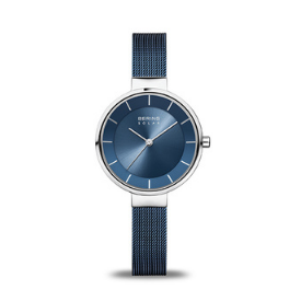 In striking hues of silver and blue, the BERING Women's solar watch is perfect for any occasion.