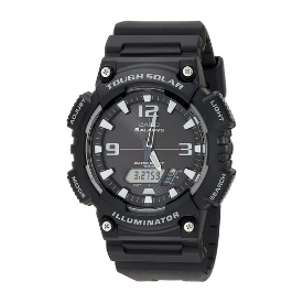 Casio's AQS810W Classic Solar watch is rugged, all-black, and has dual analog and digital displays.