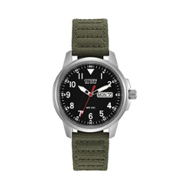 The Citizen Eco-Drive men's watch has a black and white analog display paired with a green strap.