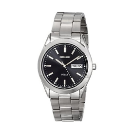 The Seiko Men's SNE039 watch boasts a stainless steel strap and polished black dial.