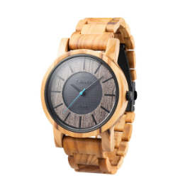 The Sonnenberg Solar Olive Wood watch is one of the best solar watches for nature lovers.