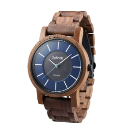 The Sonnenberg Solar Walnut Wood watch is made from 100% natural and sustainable wood.