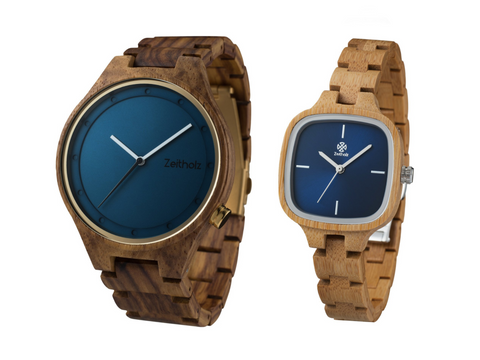 With a matching blue dial at their core, these are the perfect wood watches for him and her.