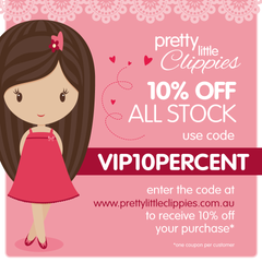 VIP coupon code for Facebook friends for baby hair accessories and hair clips Australia