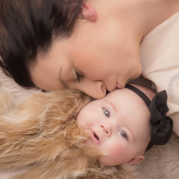 Baby wears black Alice chiffon baby headband. Photo courtesy of Ashleigh Carey Photography Adelaide