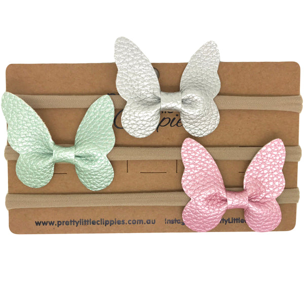 Butterfly baby headband faux leather one size skinny band