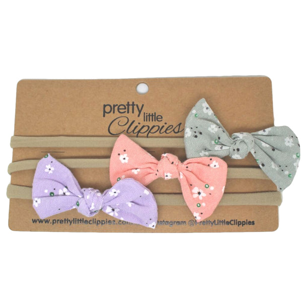 3 set fabric bow baby headbands