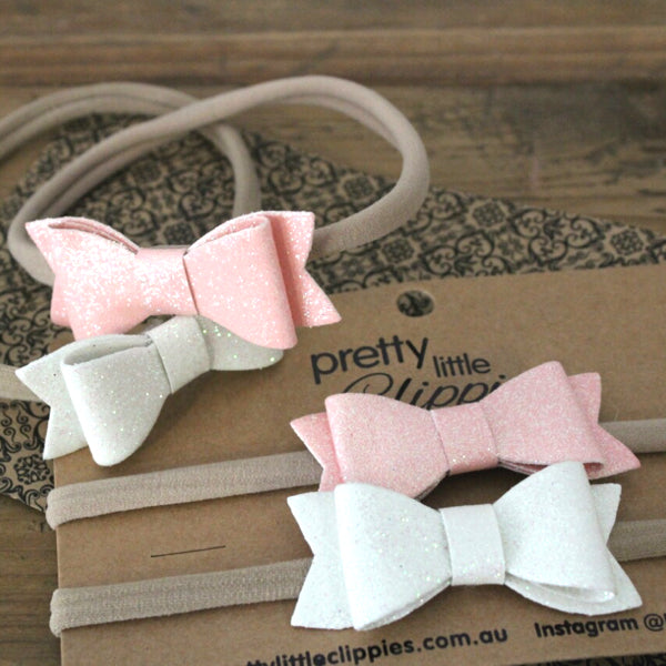 Glitter bow baby headbands for baby girls