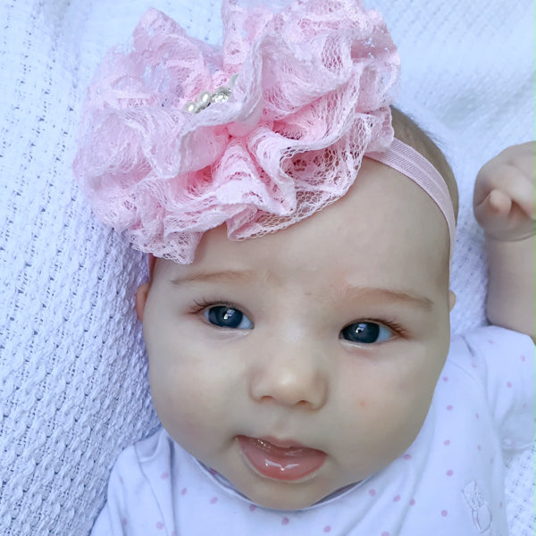 Indy lace flower baby headband for baby girls
