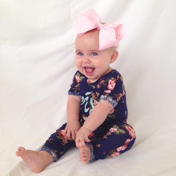 Isla Rose Modelling Our Candy Baby Headband in Pink