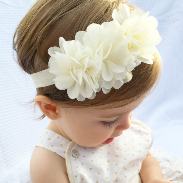 Ivory chiffon flower baby headband for christening baby naming ceremony baptisms