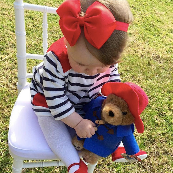 Poppy Lou in our red large Butterfly Bow baby headband