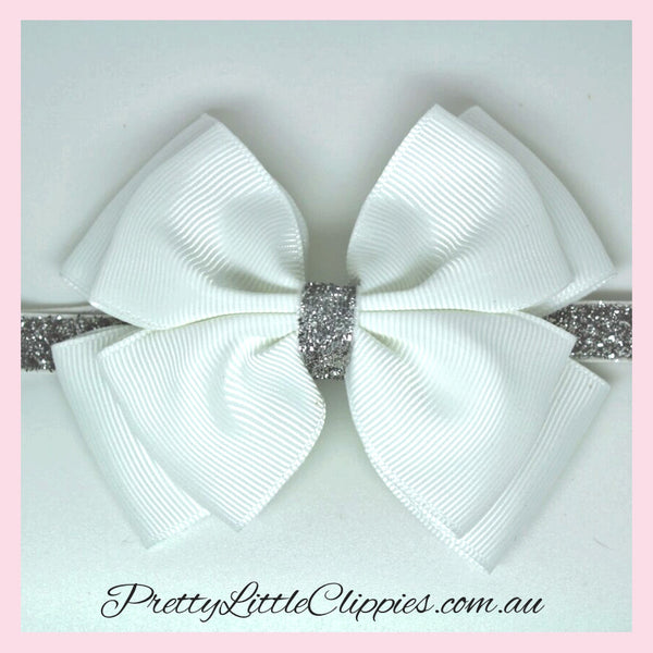 Sparkle bow baby headband white