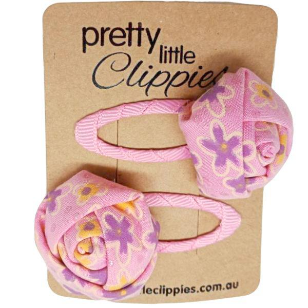 2 Set - Pink Floral Snap Hair Clips